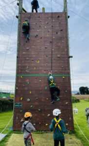 Cubs using the climbing wall